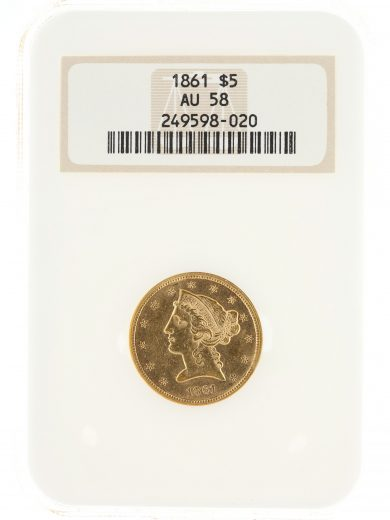 1861 Half Eagle NGC AU58 $5 Liberty Head obv