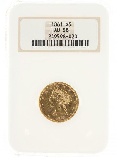 1861 Half Eagle NGC AU58 $5 Liberty Head obv