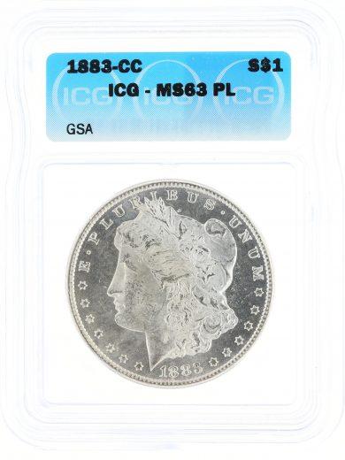 1883-CC Morgan Dollar ICG MS63 PL GSA S$1 obv