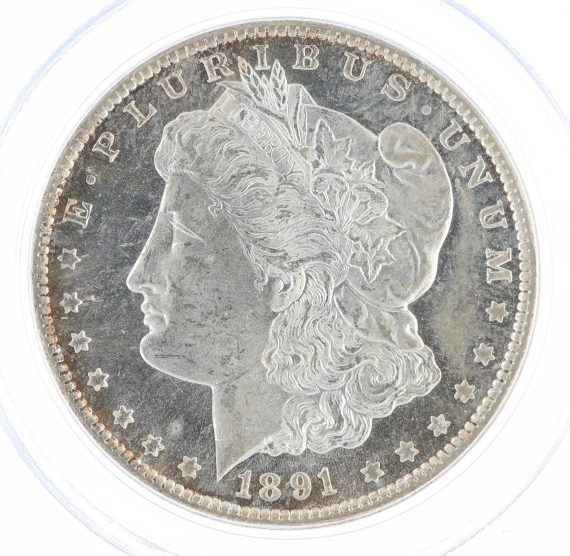 1891-CC PCGS MS63PL S$1 Morgan Dollar obv zm