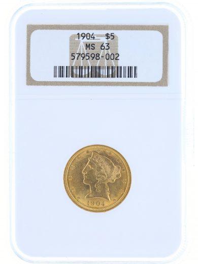 1904 Half Eagle NGC MS63 $5 Liberty Head obv