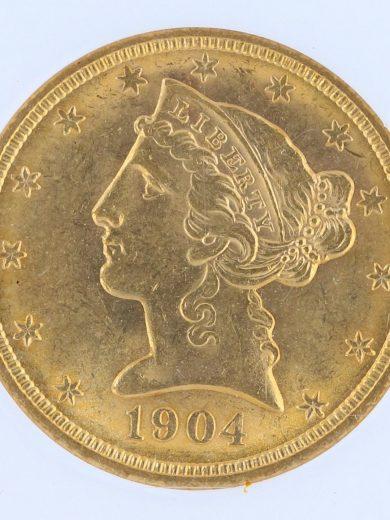 1904 Half Eagle NGC MS63 $5 Liberty Head obv zm