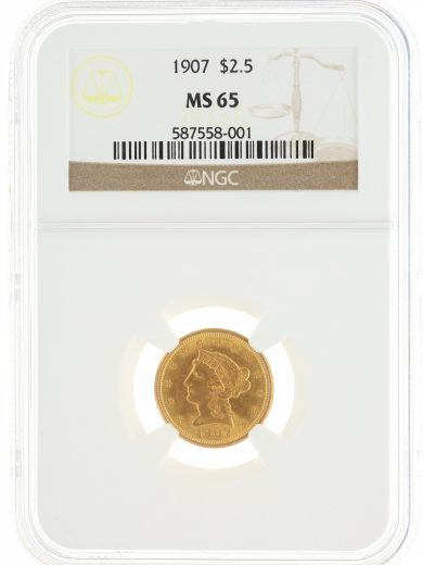 1907 Quarter Eagle NGC MS65 $2.50 obv