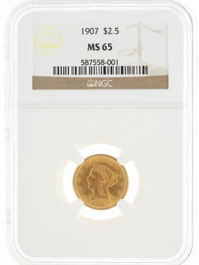 1907 Quarter Eagle NGC MS65 $2.50 obv