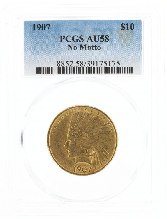 1907 No Motto Gold Eagle PCGS AU58 $10 Indian Head obv