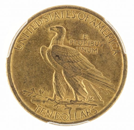 1907 No Motto Gold Eagle PCGS AU58 $10 Indian Head rev zm