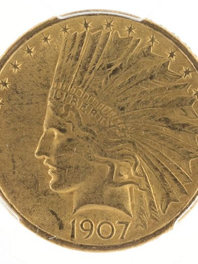 1907 No Motto Gold Eagle PCGS AU58 $10 Indian Head obv zm