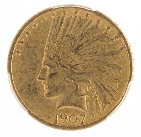 1907 No Motto Gold Eagle PCGS AU58 $10 Indian Head obv zm