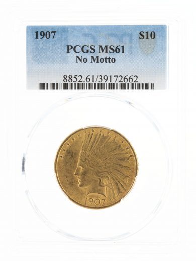 1907 No Motto Gold Eagle PCGS MS61 $10 Indian Head obv