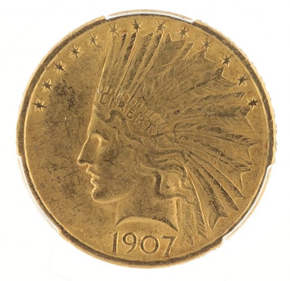 1907 No Motto Gold Eagle PCGS MS61 $10 Indian Head obv zm