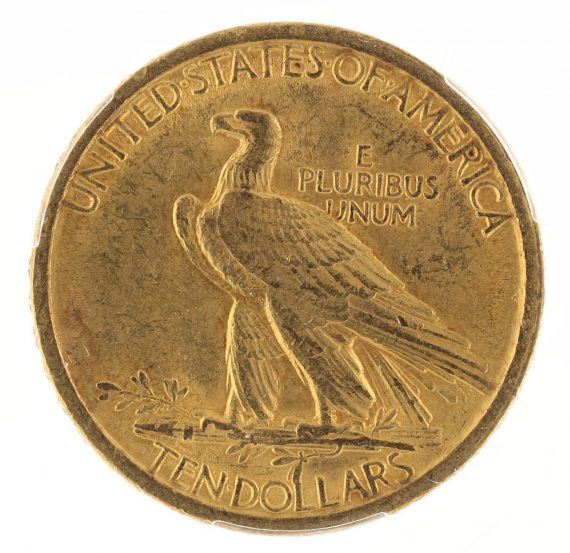 1907 No Motto Gold Eagle PCGS MS61 $10 Indian Head rev zm