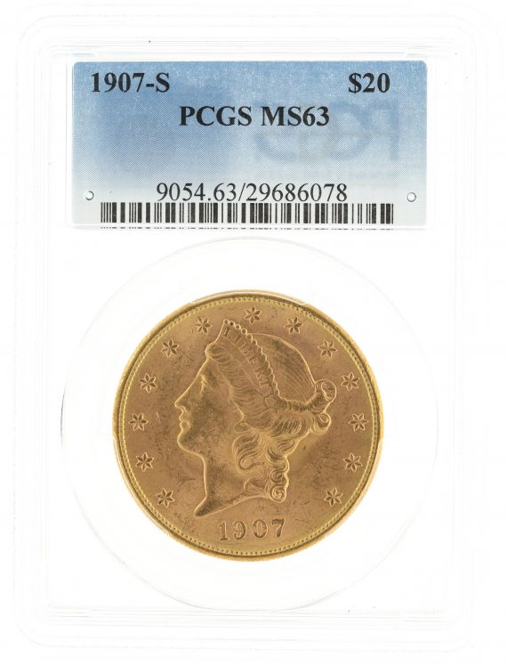 1907-S Double Eagle PCGS MS63 $20 Liberty Head obv