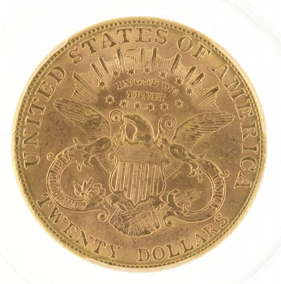 1907-S Double Eagle PCGS MS63 $20 Liberty Head rev zm