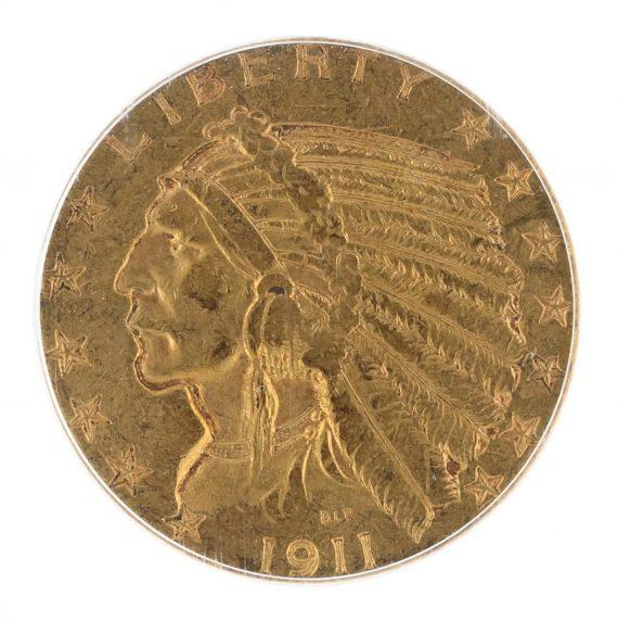 1911-S Half Eagle PCGS AU58 $5 Indian Head obv zm