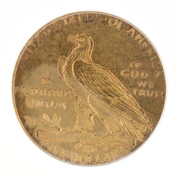 1911-S Half Eagle PCGS AU58 $5 Indian Head rev zm