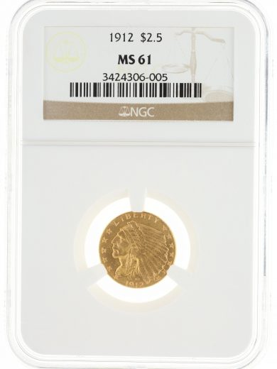 1912 Quarter Eagle NGC MS61 $2.50 Indian Head OBV