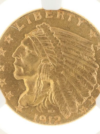1912 Quarter Eagle NGC MS61 $2.50 Indian Head obv zm
