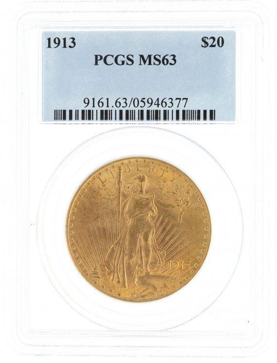 1913 Saint Gaudens PCGS MS63 $20 obv