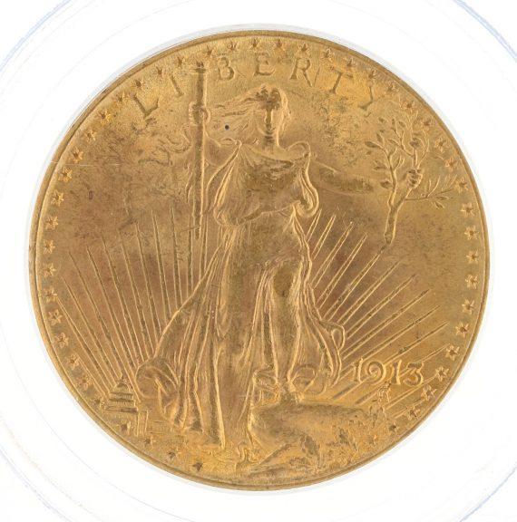 1913 Saint Gaudens PCGS MS63 $20 obv zm