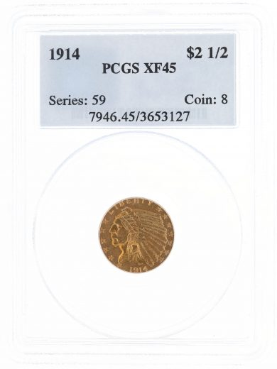 1914 Quarter Eagle PCGS XF45 $2.50 Indian Head obv