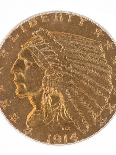 1914 Quarter Eagle PCGS XF45 $2.50 Indian Head obv zm