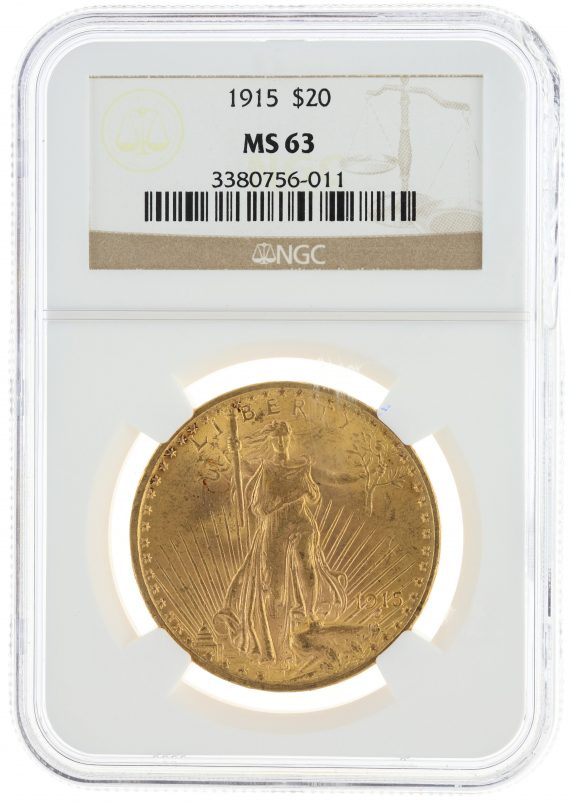 1915 Saint Gaudens NGC MS63 $20 obv