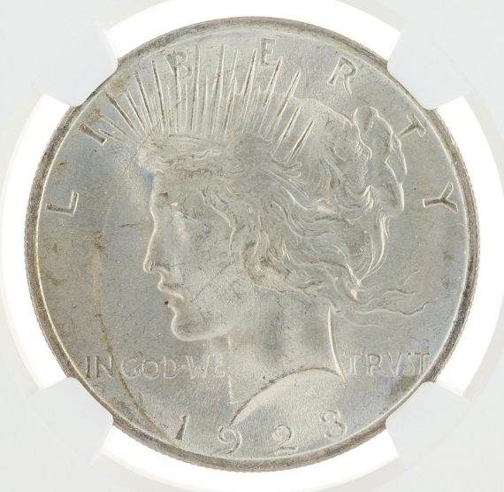 1923 Peace Dollar MS66 ICG S$1 obv zm