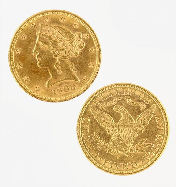 $5 Liberty AU Half Eagle Raw Gold