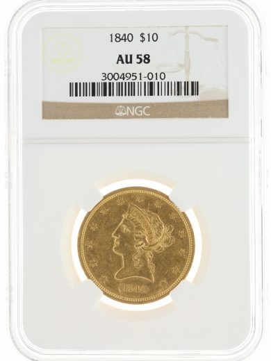 1840 Gold Eagle NGC AU58 $10 Liberty Head obv