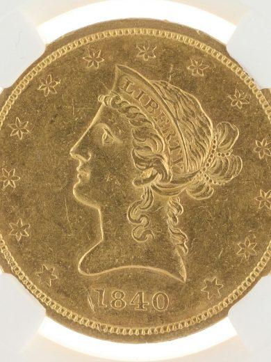1840 Gold Eagle NGC AU58 $10 Liberty Head obv zm