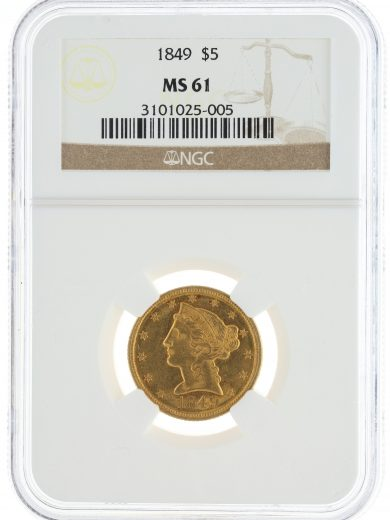 1849 Half Eagle NGC MS61 $5 Liberty Head obv