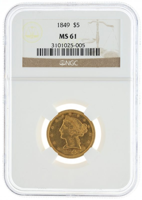 1849 Half Eagle NGC MS61 $5 Liberty Head obv