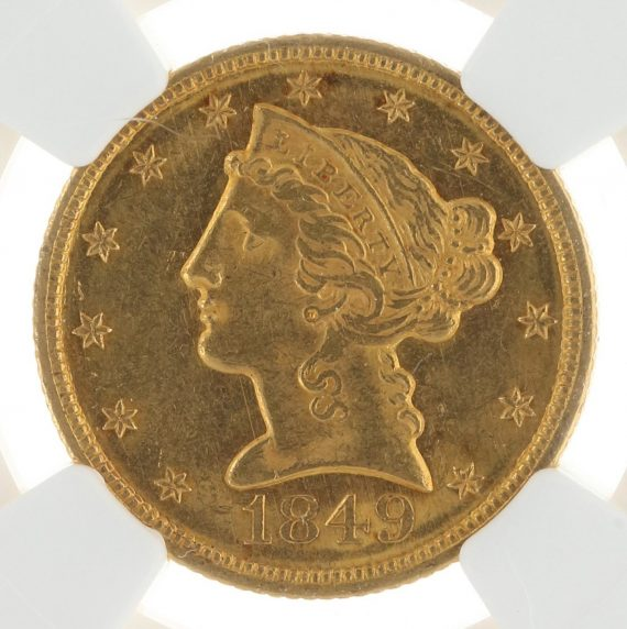 1849 Half Eagle NGC MS61 $5 Liberty Head obvzm