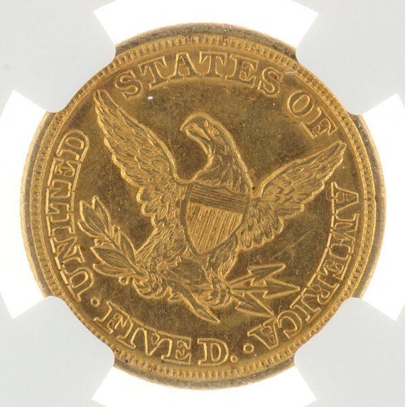 1849 Half Eagle NGC MS61 $5 Liberty Head rev zm