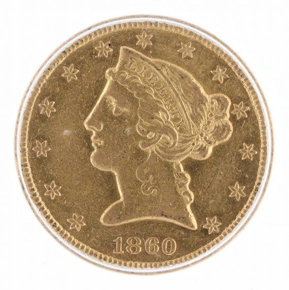 1860-S Half Eagle ICG AU55 $5 obv