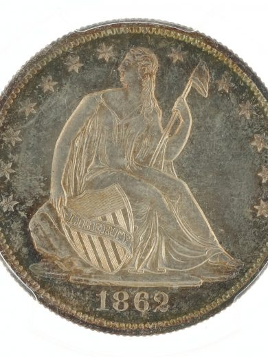 1862 Seated Liberty Dollar PCGS PR64+ 50C obv zm