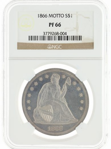 1866 Motto Seated Liberty Dollar NGC PF66 S$1 obv