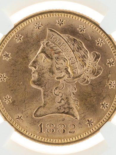 1882 Gold Eagle NGC MS63 $10 Fairmont Collection obv zm
