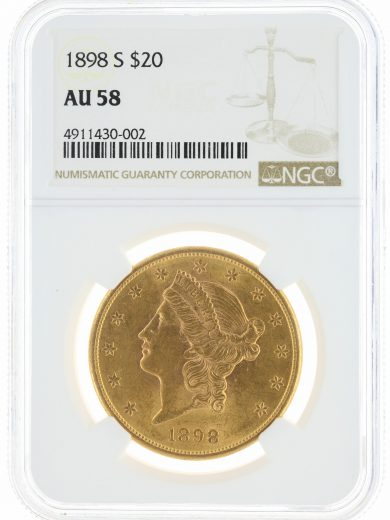1898-S Double Eagle NGC AU58 $20 Liberty Head obv