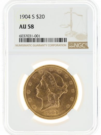 1904-S Double Eagle NGC AU58 $20 Liberty Head OBV