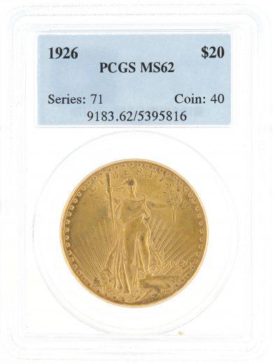 1926 Saint Gaudens PCGS MS62 $20 OBV