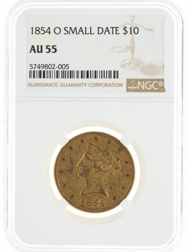 1854-O Small Date Gold Eagle NGC AU55 $10 obv