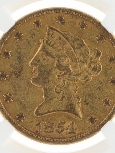 1854-O Small Date Gold Eagle NGC AU55 $10 obv zm