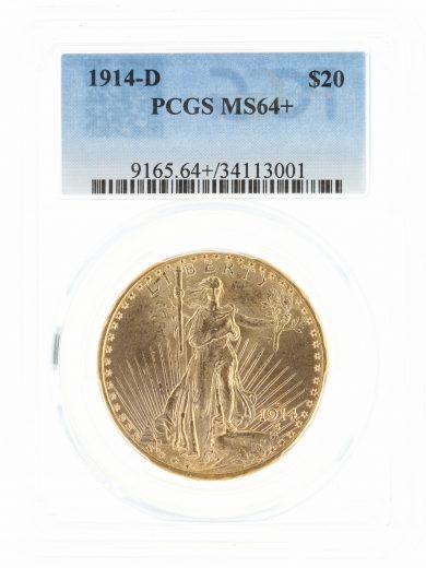 1914-D PCGS MS64+ $20 13001 obv
