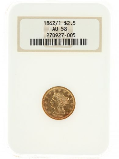 1862/1 Quarter Eagle NGC AU58 $2.5 27005 obv