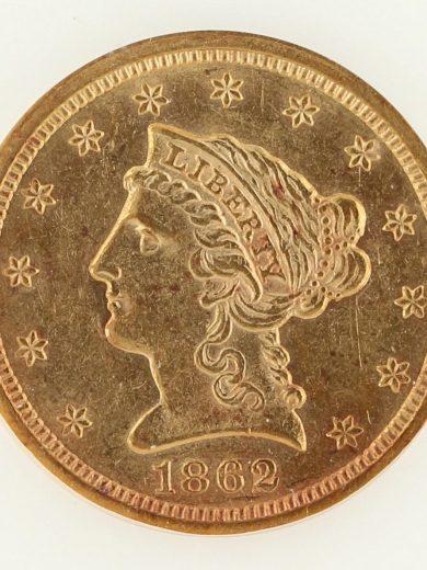 1862/1 Quarter Eagle NGC AU58 $2.5 27005 obv-zm