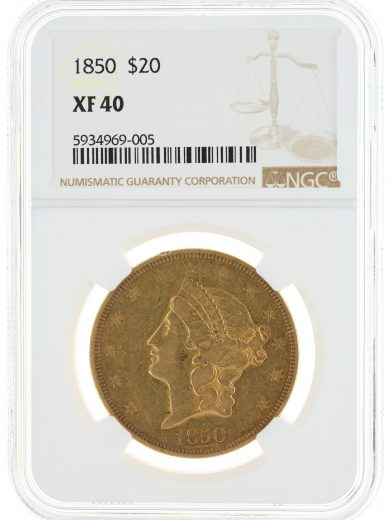 1850 Double Eagle NGC XF40 $20 69005 obv