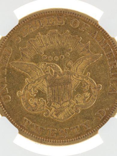 1850 Double Eagle NGC XF40 $20 69005 rev-zm
