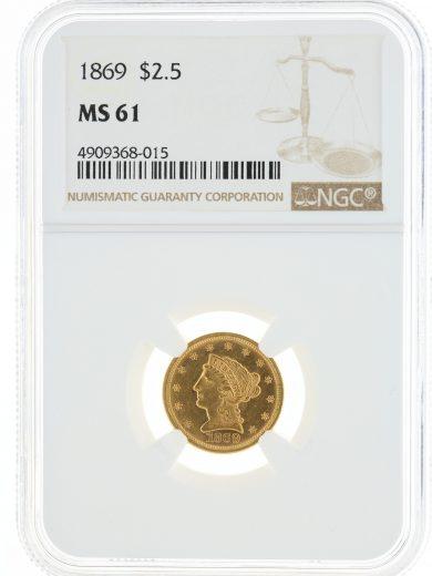 1869 Quarter Eagle NGC MS61 $2.5 obv