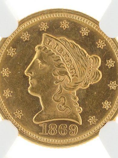 1869 Quarter Eagle NGC MS61 $2.5 obv-zm